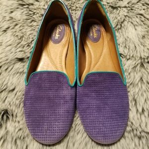 Women's Clark's Artisan purple and turquoise leath
